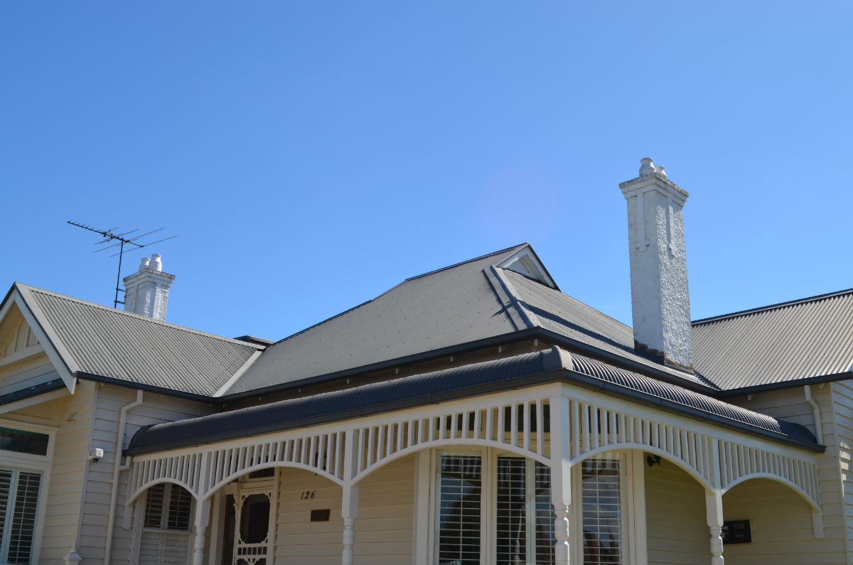 Roof Restoration with colorbond roof, Newtown